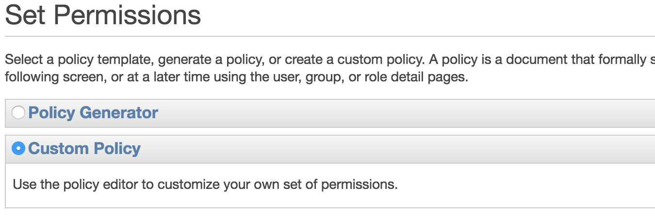Select Custom Inline Policy