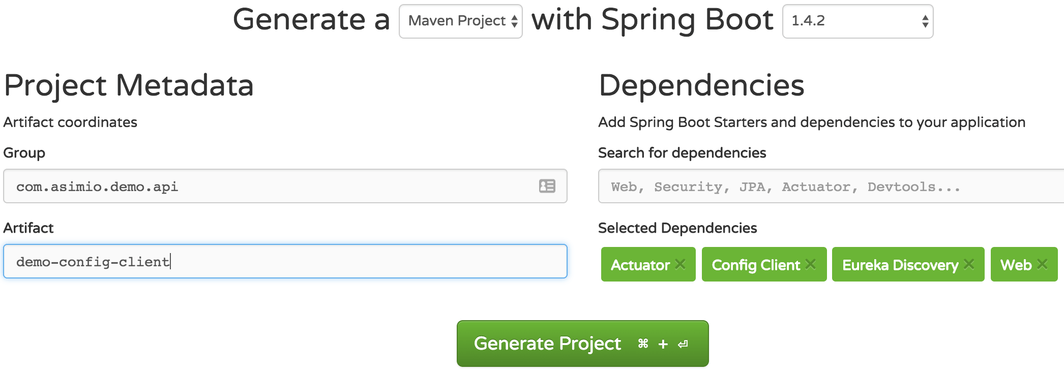 Spring Initializr - Generate Config Client