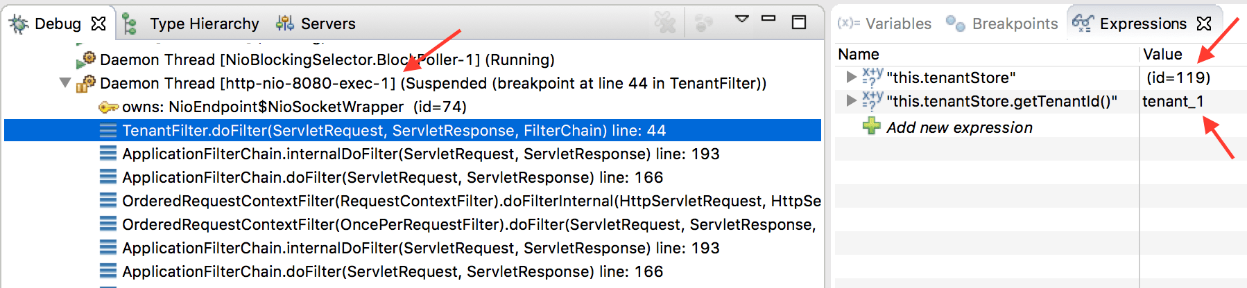 TenantFilter breakpoint request #1
